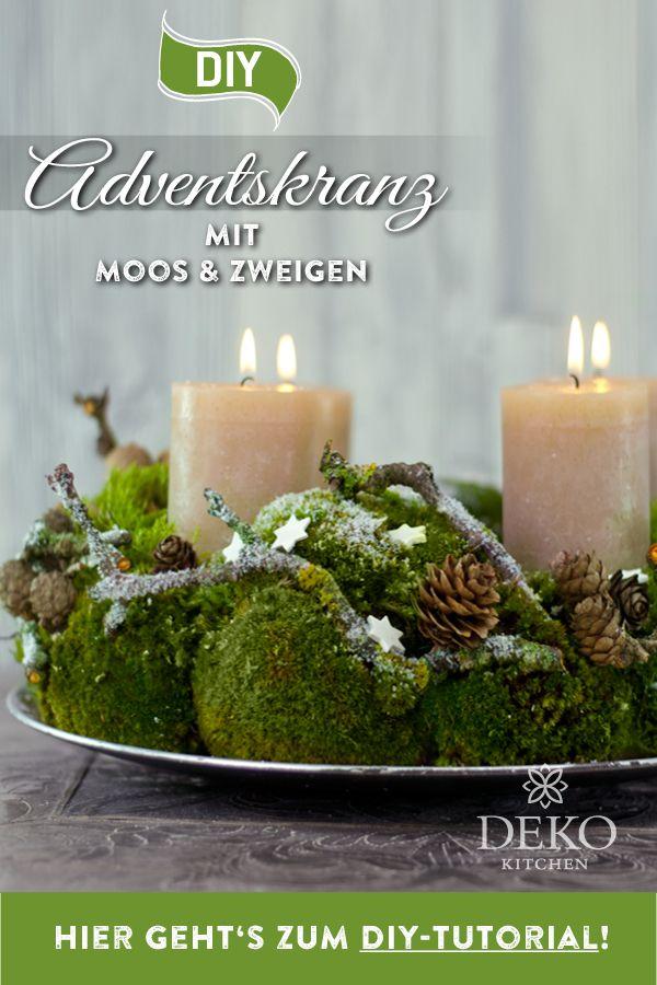 DIY-Weihnachtsdeko: natürlicher Adventskranz mit Moos & Zweigen