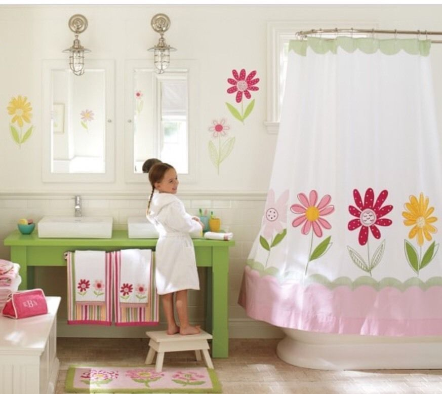 Pottery Barn Kids Daisy Garden Appliqued Floral Fabric Shower Curtain PotteryBarnKids Contemporary