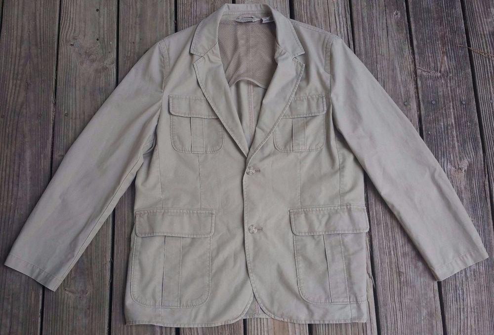 L.L. BEAN Khaki Canvas Multi-Pocket Safari Photographer Blazer Coat Men's 40 S  #LLBean #BasicCoat