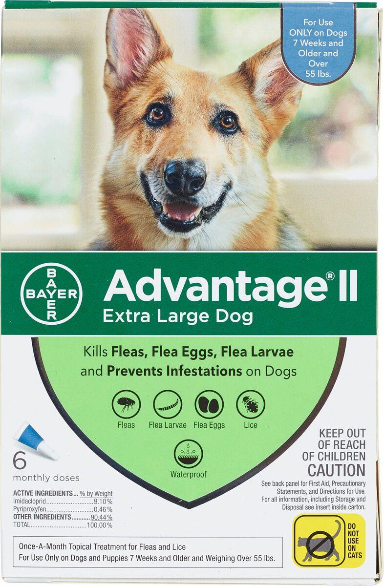 Advantage Ii For Dogs 6 Pk Over 55 Lbs Blue Dog Flea Treatment