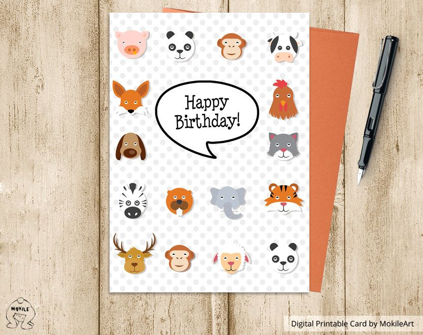 Animal Cardsinstant Downloadprintable Birthday Card Instant