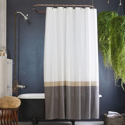 Horizon Stripe Shower Curtain, Slate   HOME DECOR // shopping ...