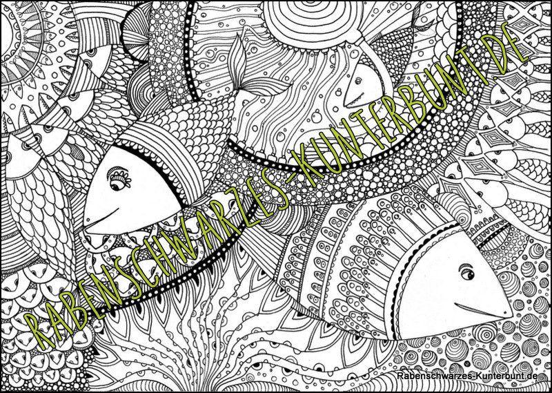 ausmalbild  doodle  fische  postergröße von