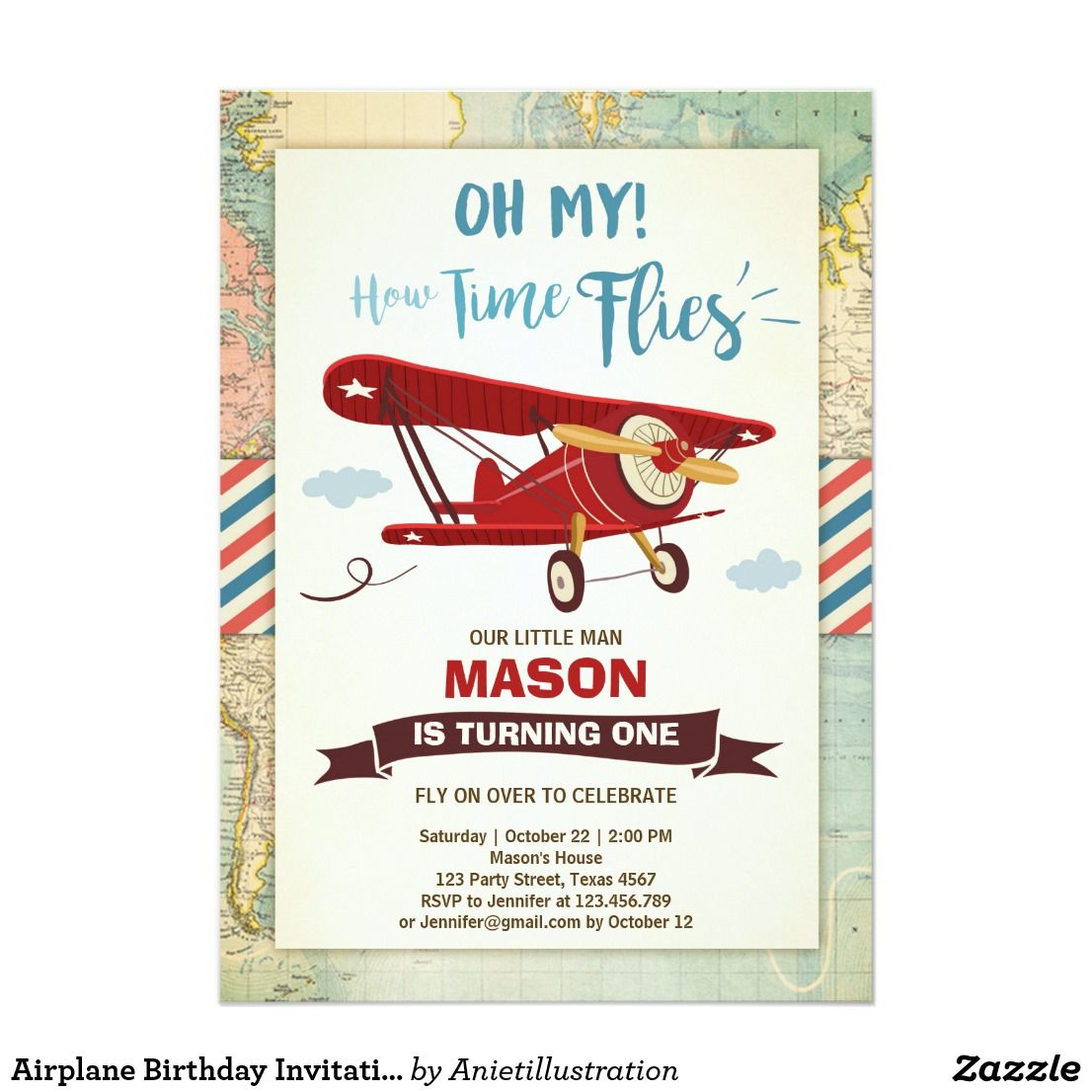 Airplane Birthday Invitation Time flies Plane Boy | Pinterest ...