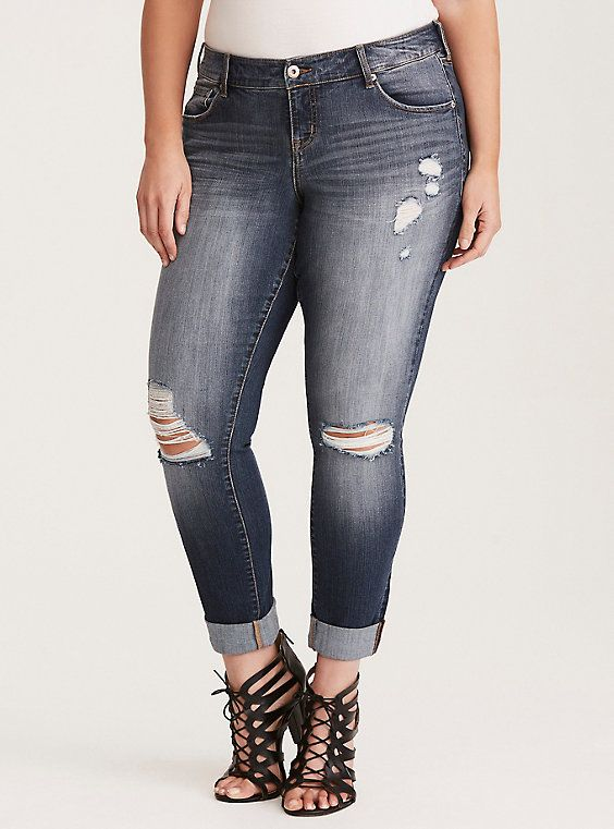 6facacdf57d Torrid Premium Stretch Boyfriend Jeans - Light Wash with Destruction