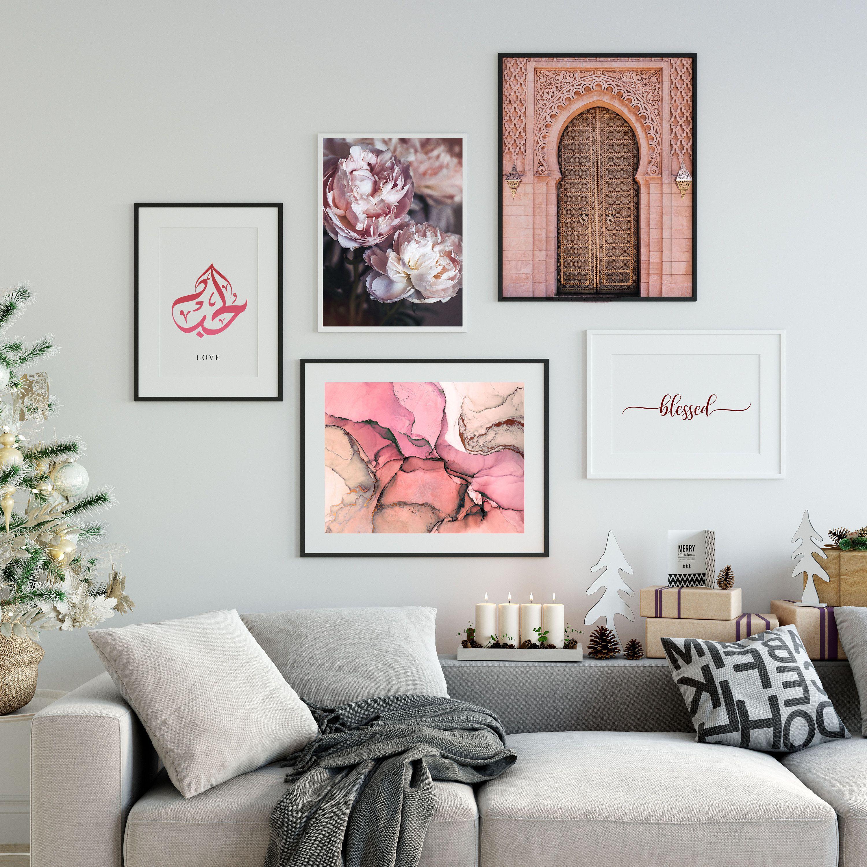 Set Of 5 Prints Islamic Art Printable Wall Art Pink Flower Modern Mosque Decor Digital Print Downloadable Poster Set Print Abstract Decor Wall Printables Wall Decor Printables Abstract Decor