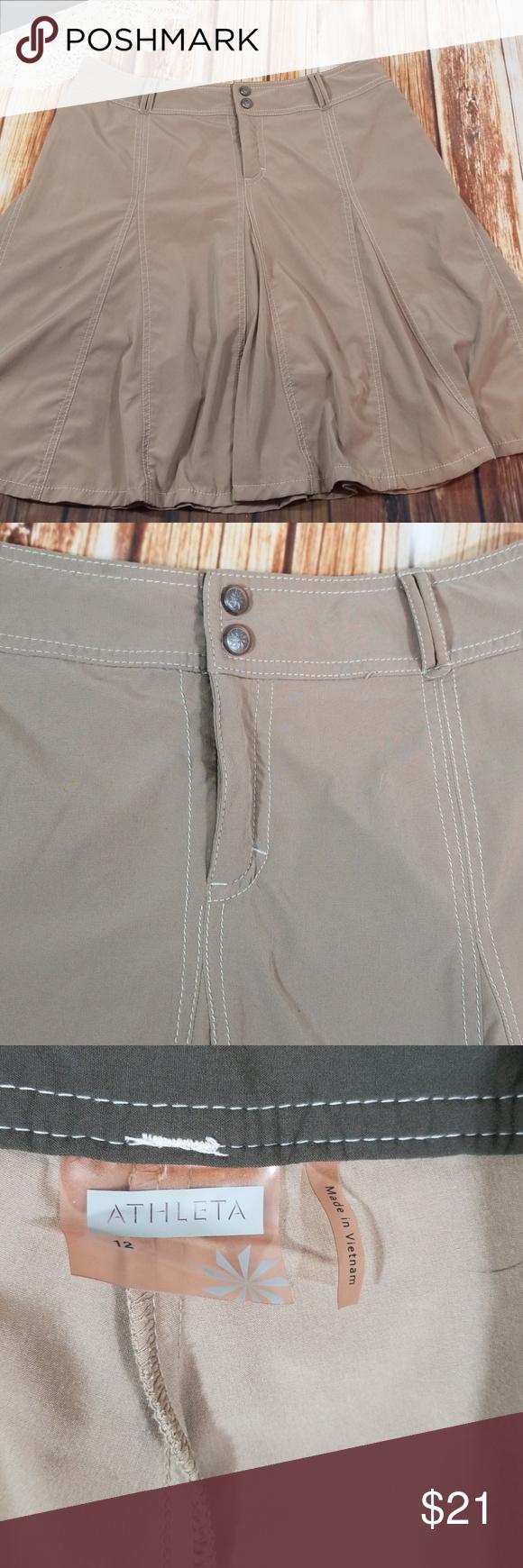 Women's Clothing Athleta Stretch Skirt Tan Size 12 Euc