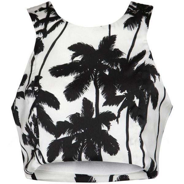 White Palm Tree Print Crop Top ❤ liked on Polyvore featuring tops, crop, crop tops, white crop top, racerback crop top, crop top, white tops and racer back tops