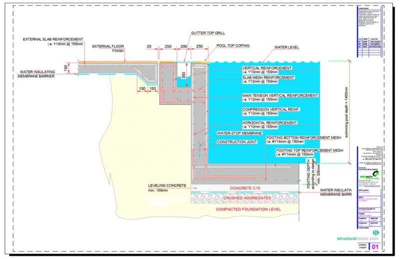 Infinity Type Swimming Pool Retaining Wall With Catch Pool Detail In 2020 Pool Retaining Wall Swimming Pool Construction Concrete Swimming Pool