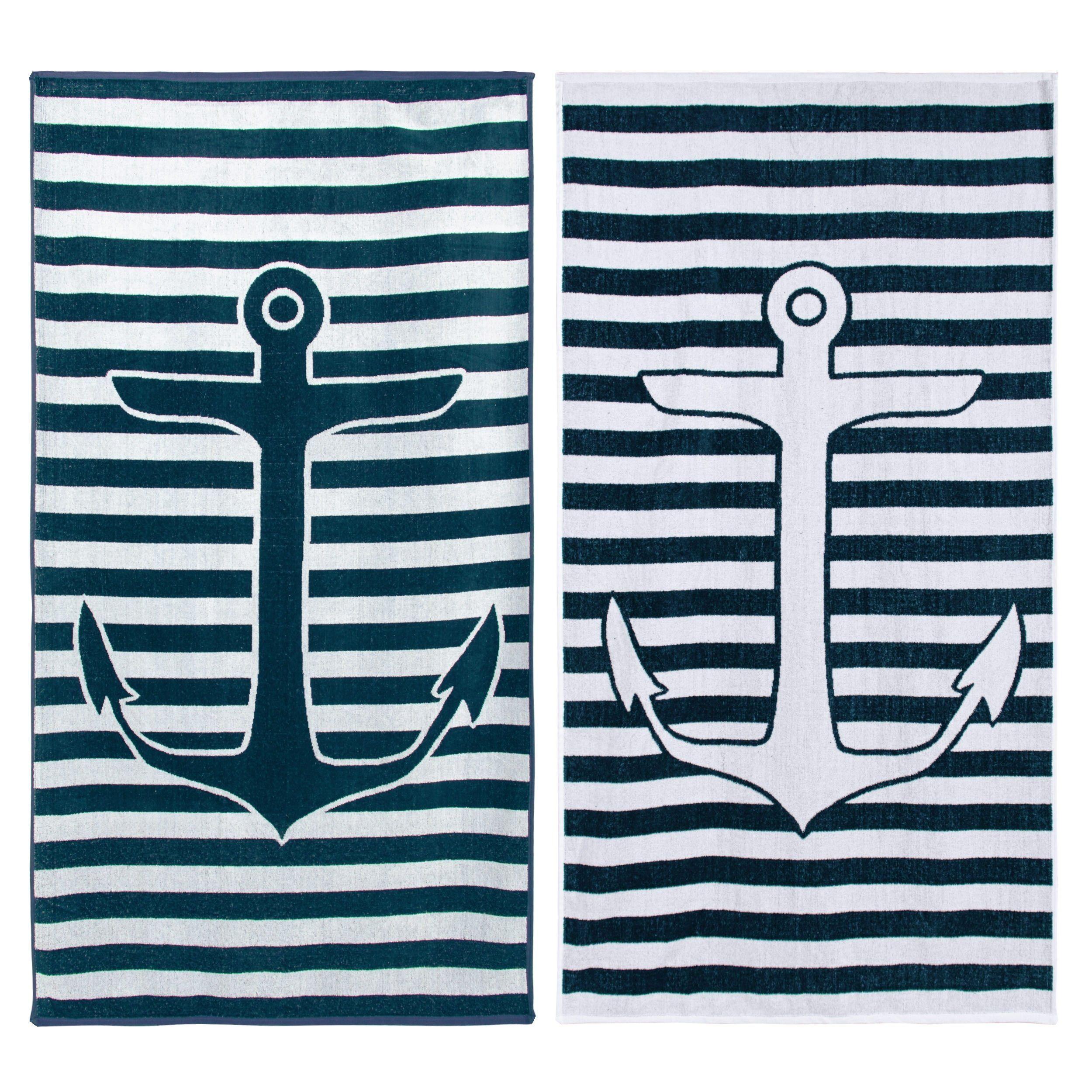Nautical Boat Name Anchor Navy Blue Striped Beach Towel Zazzle
