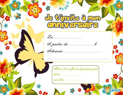 Audacieux Invitation anniversaire fleurs et papillons • 123 cartes - o.k. TM-89