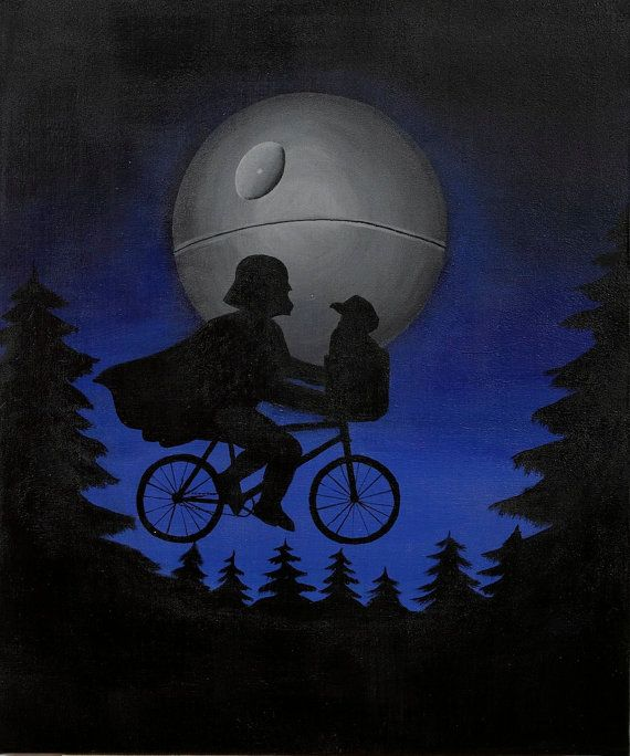 "Star wars poster, laser print of my original painting: ""E.T. reloaded"", Spielberg's masterpiece parody"