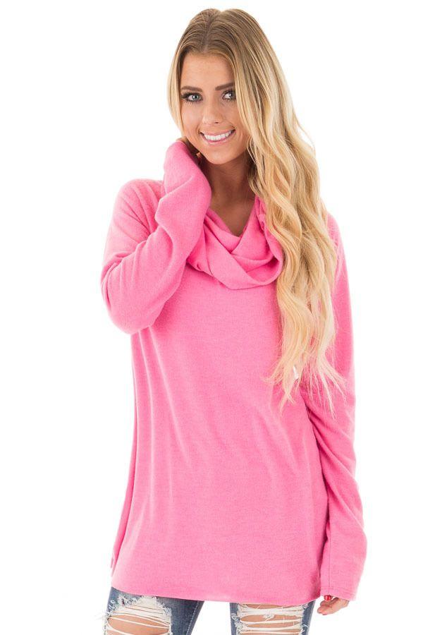 Lime Lush Boutique - Hot Pink Cowl Neck Fleece Top, $39.99 (https://www.limelush.com/hot-pink-cowl-neck-fleece-top/)