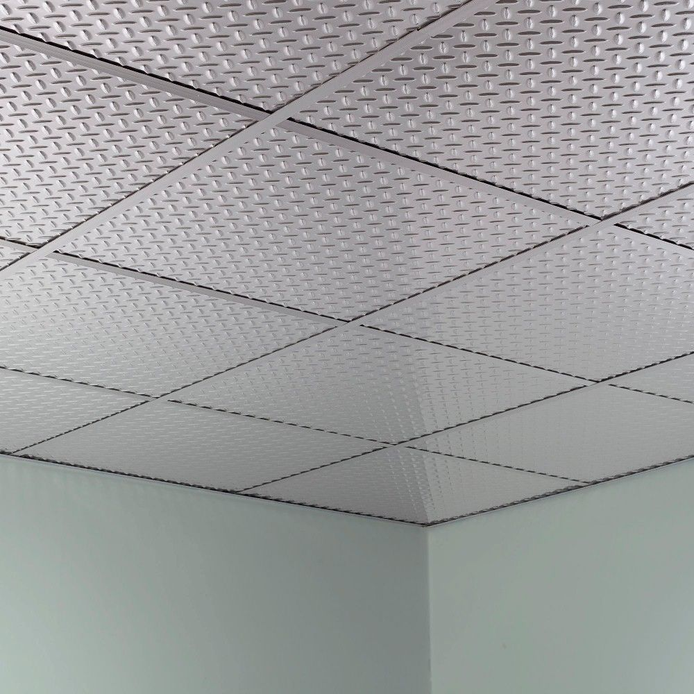 Fasade Diamond Plate Revealed Edge Brushed Aluminum 2 Foot Square Lay In Ceiling Diamond Plate Ceiling Tiles Ceiling Panels