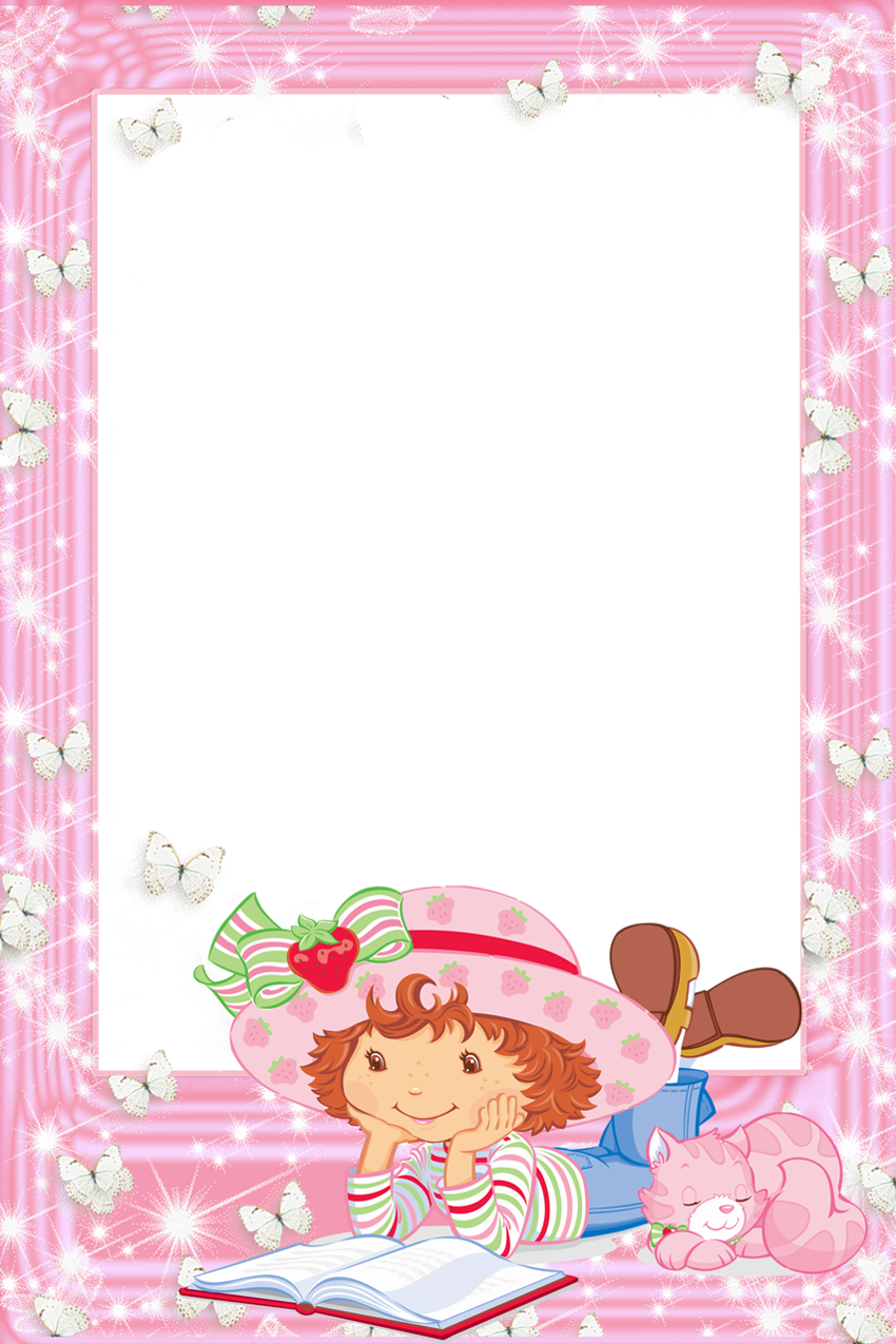 Transparent PNG Frame Strawberry Shortcake with Book