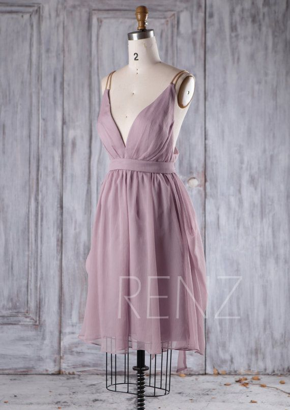 Dusty Lavender Chiffon Bridesmaid Dress, Deep V Neck Wedding Dress ...