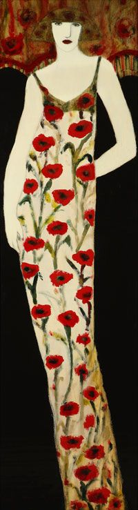 Woman in Gown with Poppies by Cynthia Markert