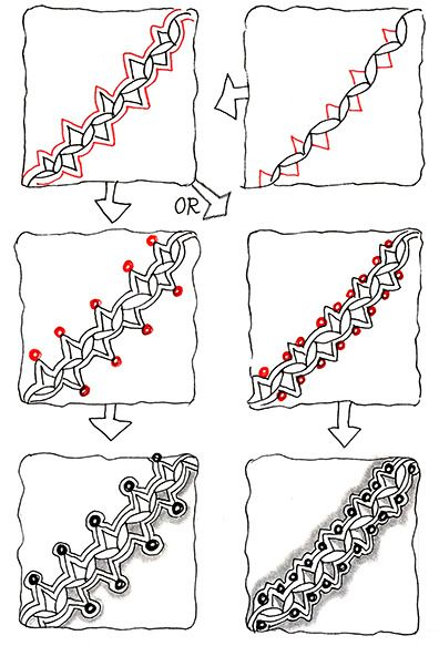 Official Zentangle Pattern: Zenith. [X]. Category: Border