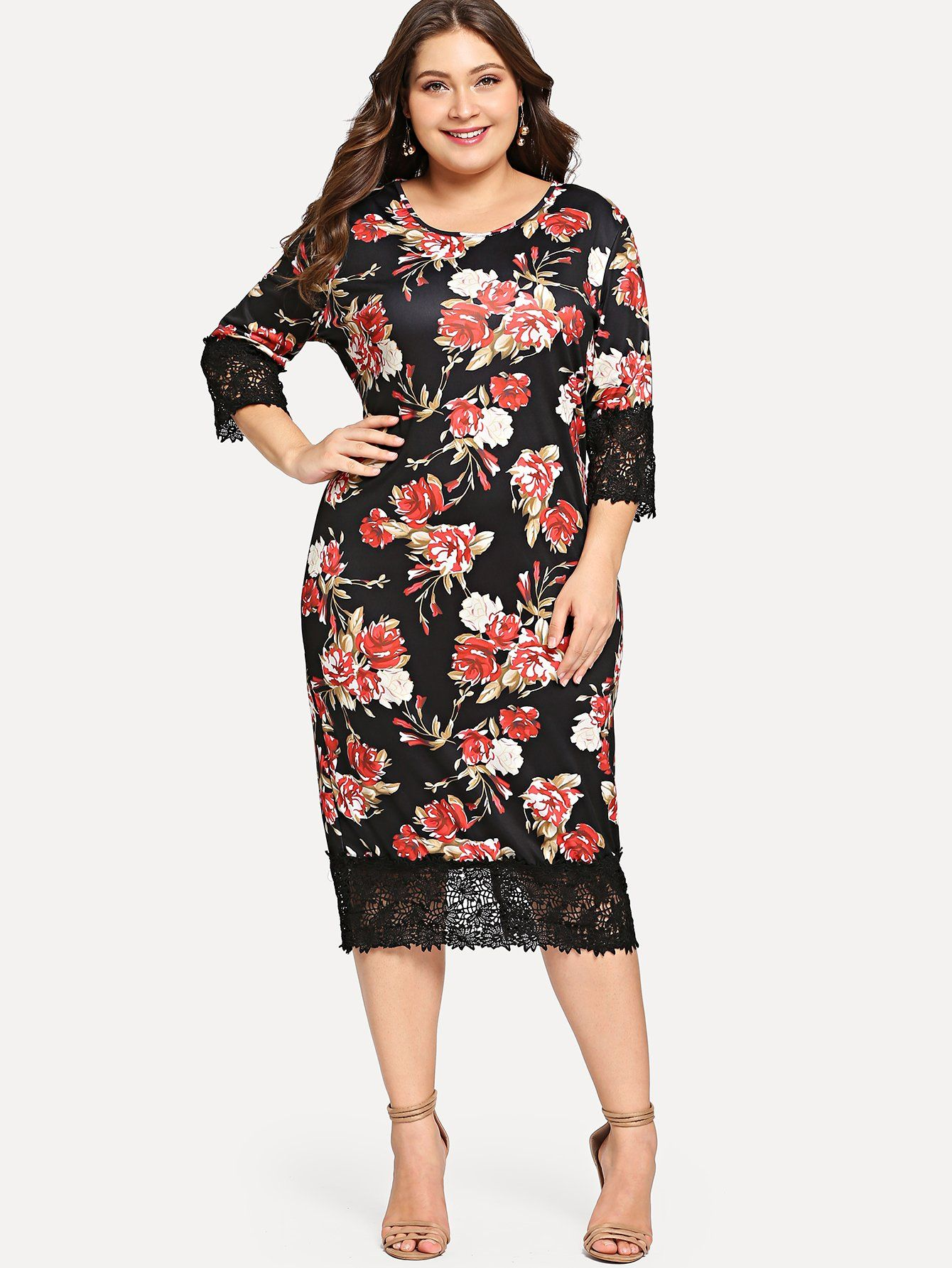 Kleid mit Spitzen und Blumenmuster- German SheIn(Sheinside