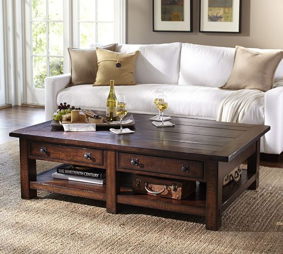 benchwright rectangular coffee table | pottery barn coffee table