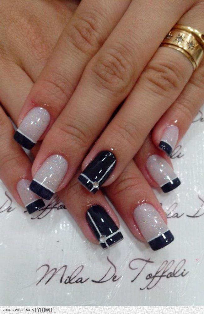 černé špičky   Nehty   Pinterest   Nail nail, Manicure and ...