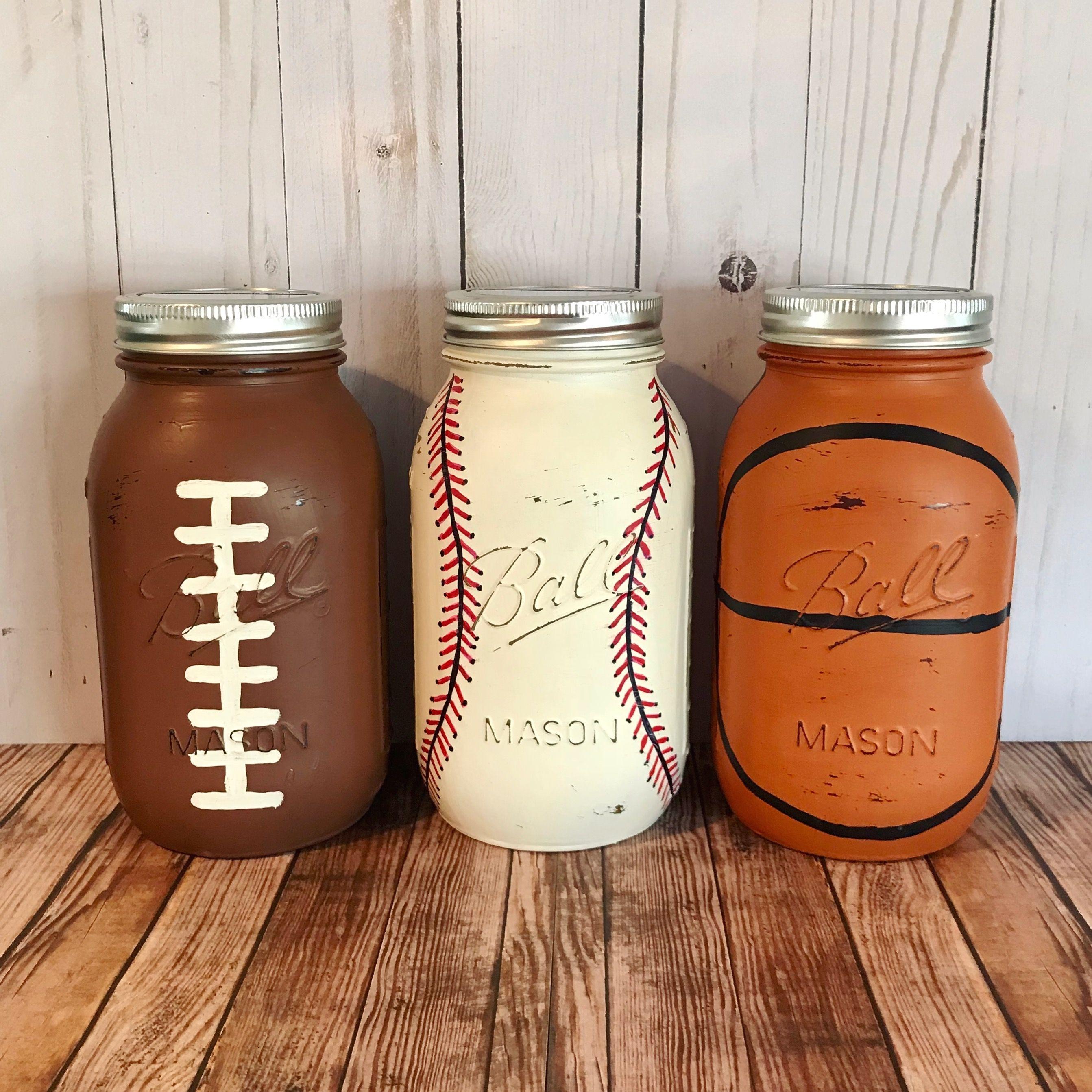 mason jar banks basketball baseball football set of mason