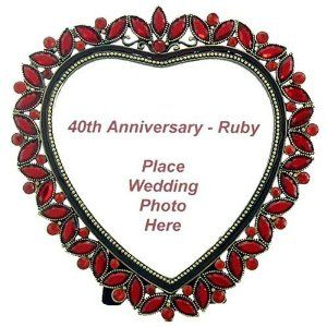 40th anniversary ruby heart frame beautiful 40th ruby wedding anniversary gift