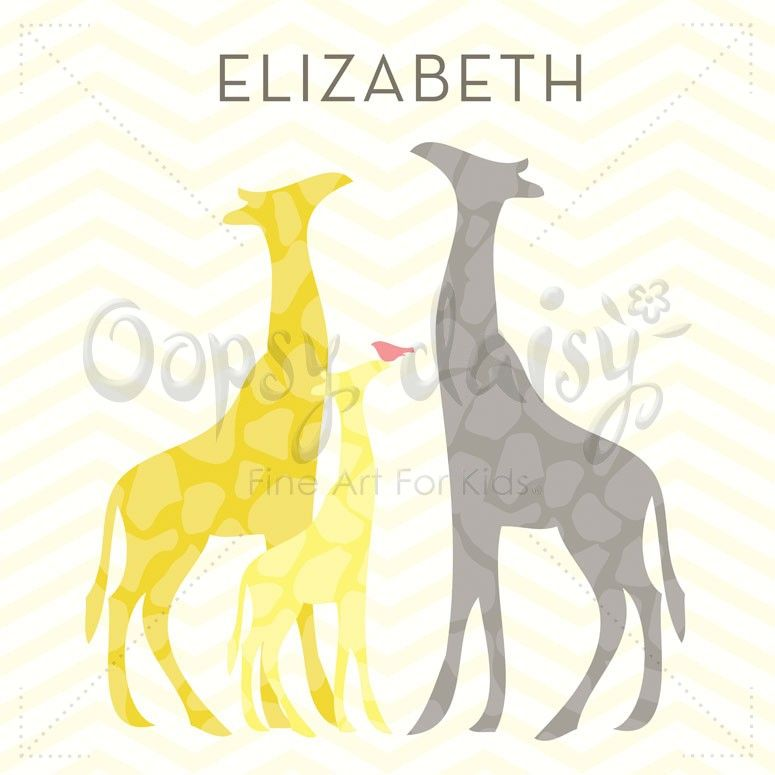 Modern Giraffes - Yellow - Personalized Canvas Wall Art | Oopsy ...