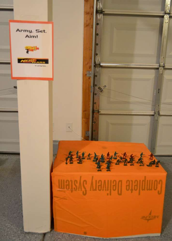 Nerf gun birthday party game idea. See the little toy soldiers.
