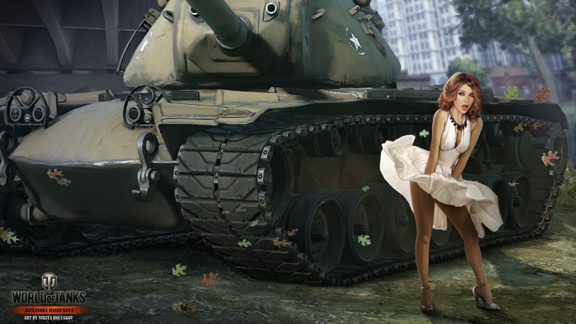 Wallpaper World of Tanks Nikita Bolyakov tank Kimono Girls