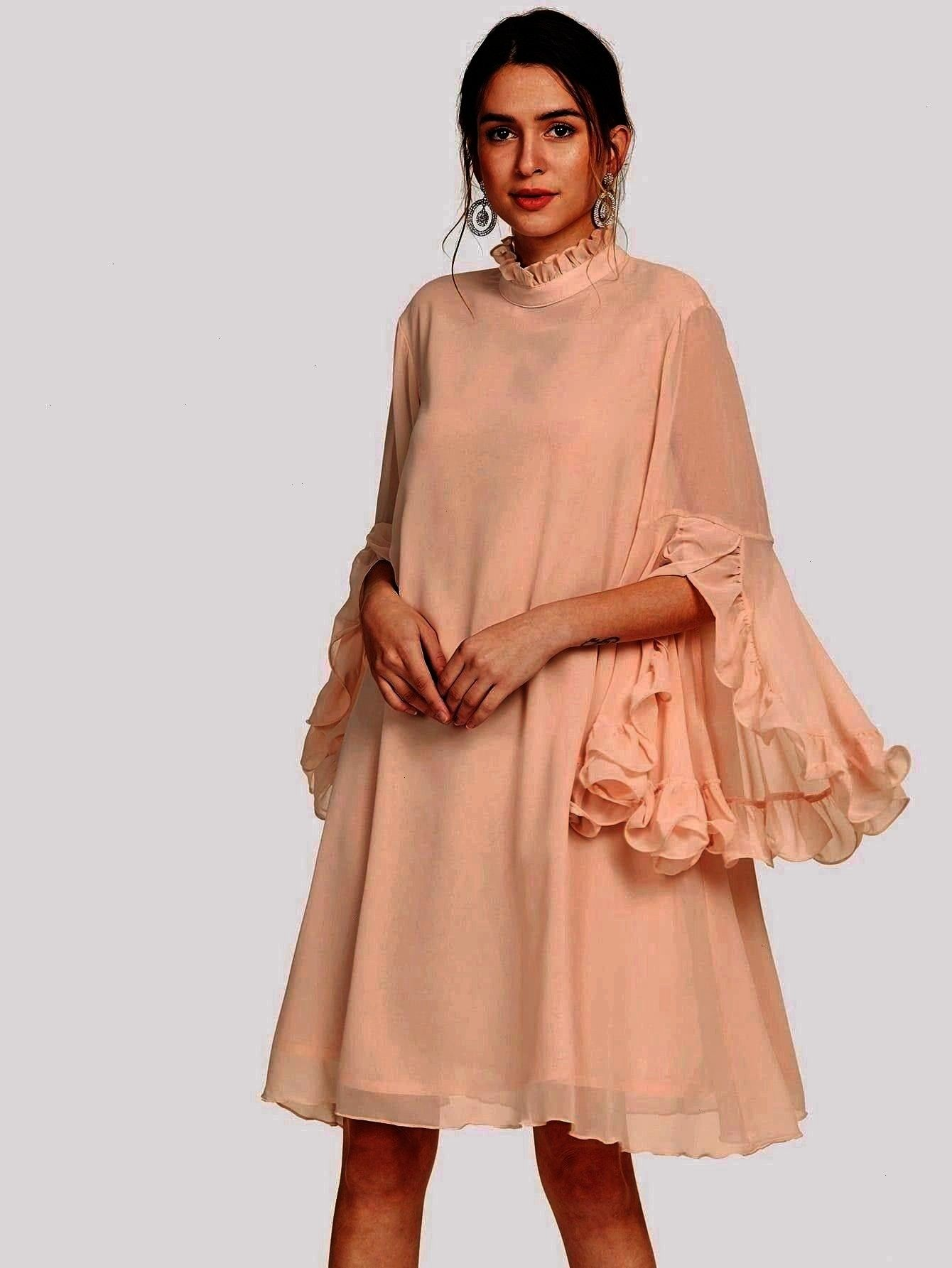 Collar Three Quarter Length Sleeve Natural Beige and Pastel Midi Length Frill Sleeve And Cuff Flowy DressbeigeRomantic Tunic Plain Loose Stand Collar Three Quarter Length...