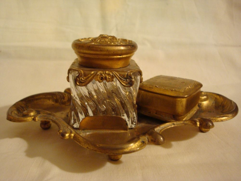 Old Art Nouveau glass Inkwell on brass Tray with Stamp Box - 1890