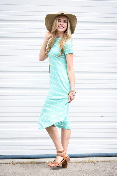 0b64ab95d10 Diane Stripe Trapeze Dress In Mint - My Sisters Closet