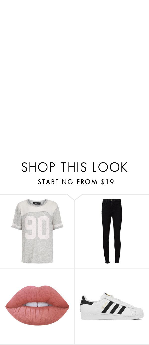 """""""Thankyou For 90 Followers"""" by pockynoodles ❤ liked on Polyvore featuring New Look, Frame Denim, Lime Crime and adidas"""