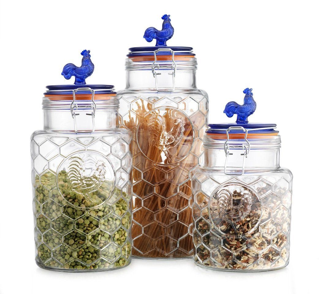 country kitchen rooster canisters set of three 3 round clear country kitchen rooster canisters set of three 3 round clear glass hermetic sealed airtight