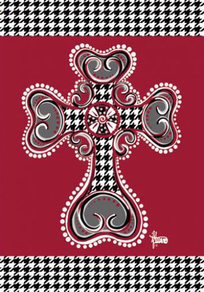 "Houndstooth Cross Garden Flag Religious Decorative Yard Banner 12/"" x 18/"""