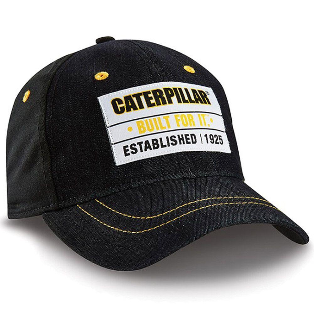 CAT Hats - CAT Caps - Caterpillar CAT Black Denim Patch Caps - Caterpillar  Merchandise b8ae3d5a12b