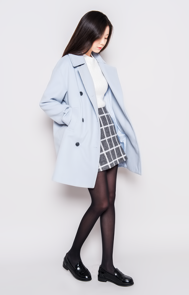 Blue pea coat white sweater black and white grid a line skirt black sheer tights black Korean fashion style shoes