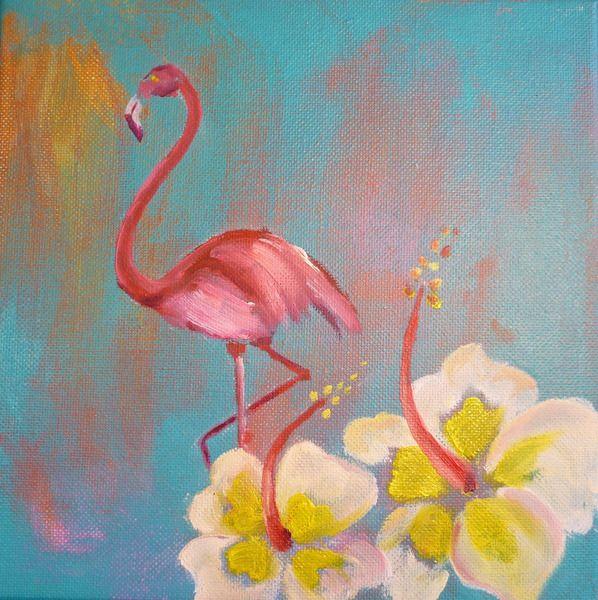 Flamingo und Hibiskus Öl und Acryl auf Leinwand  Meer, eine frische Brise, exotische Blumen, leckere (Meeres)Früchte. Flamingos wissen, was gut ist.  58€