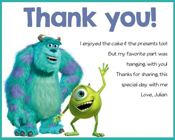 Monsters Inc Birthday Party Thank You Card Monsters Birthdays