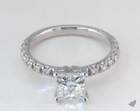1ct Pave Princess Engagement Ring White Gold