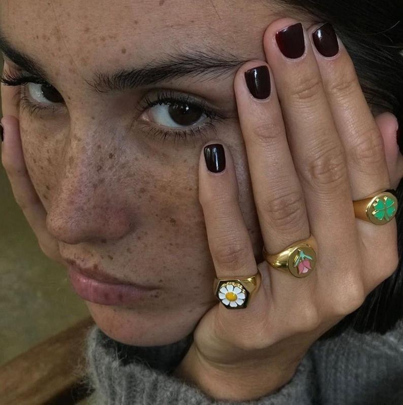 Gold Flower Daisy Ring, Tulip Clover Ring, Gold Ch