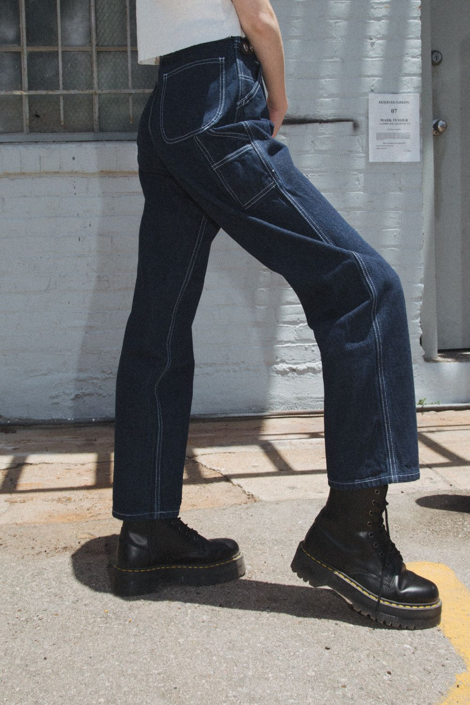 Talia Dark Wash Cargo Jeans Bottoms Clothing Carpenter Jeans