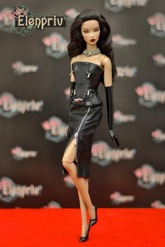 a1ffd17d80 ELENPRIV black leather skirt with front functional zipper {Choose size} Fashion  royalty FR2 Poppy Pa