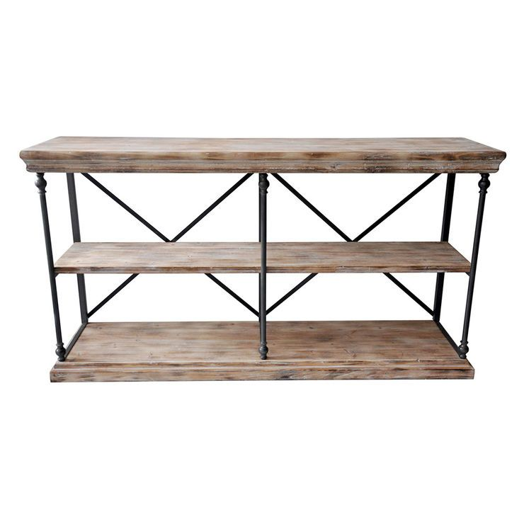 La Salle Metal And Wood 2 Shelf Console Table Height 34 In