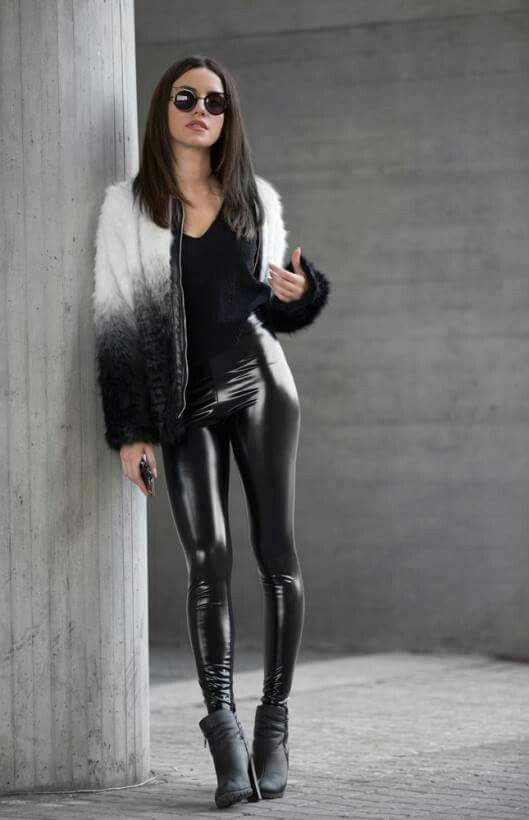 89b704c840d0 Black stretch vinyl glossy leggings paired with a ridiculously awesome  white and black gradient mohair jacket trimmed in faux leather.