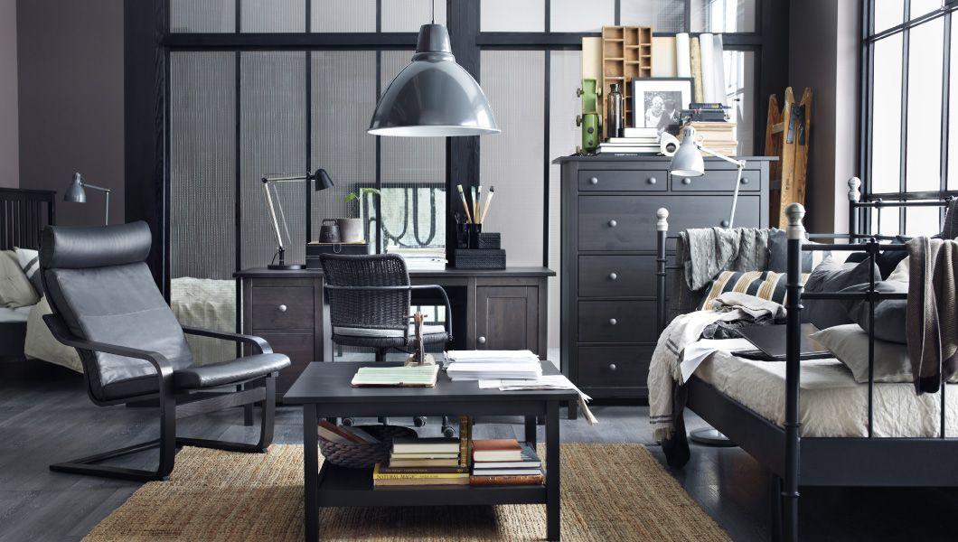 arbeitsplatz u a mit hemnes schreibtisch hemnes kommode mit 6 schubladen und hemnes. Black Bedroom Furniture Sets. Home Design Ideas