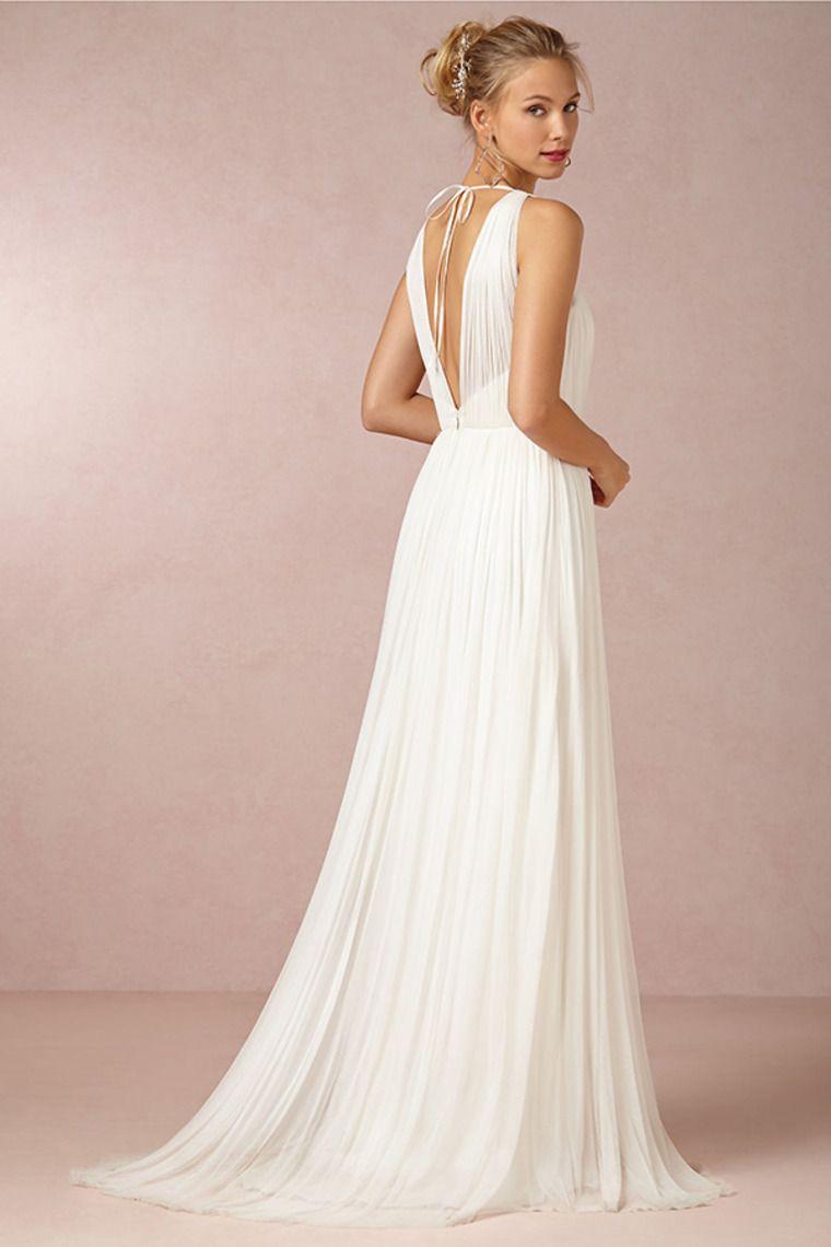 2014 V Neck Open Back A Line Wedding Dress With Chiffon ...
