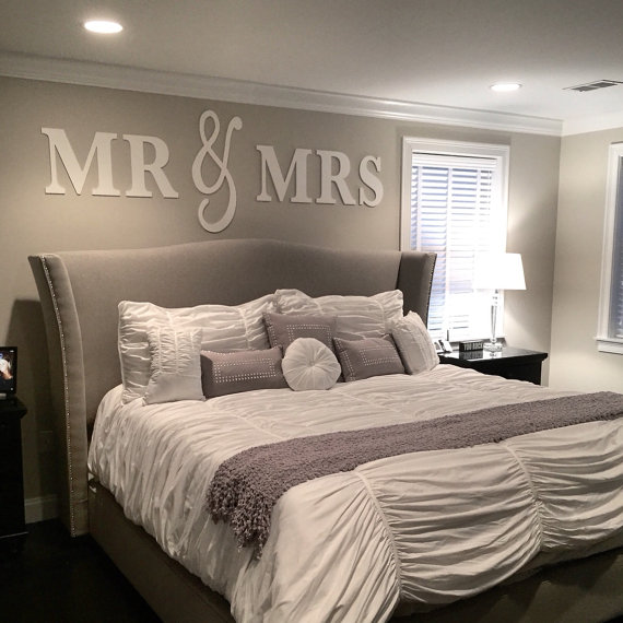Mr Mrs Wall Sign Above Bed Decor Mr And Mrs Sign For Over Etsy