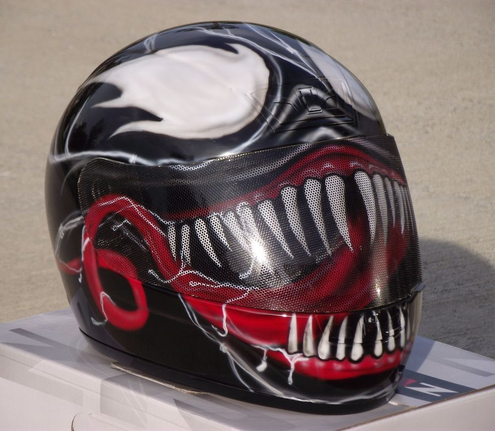 Venom Custom Airbrush Painted Motorcycle Helmet